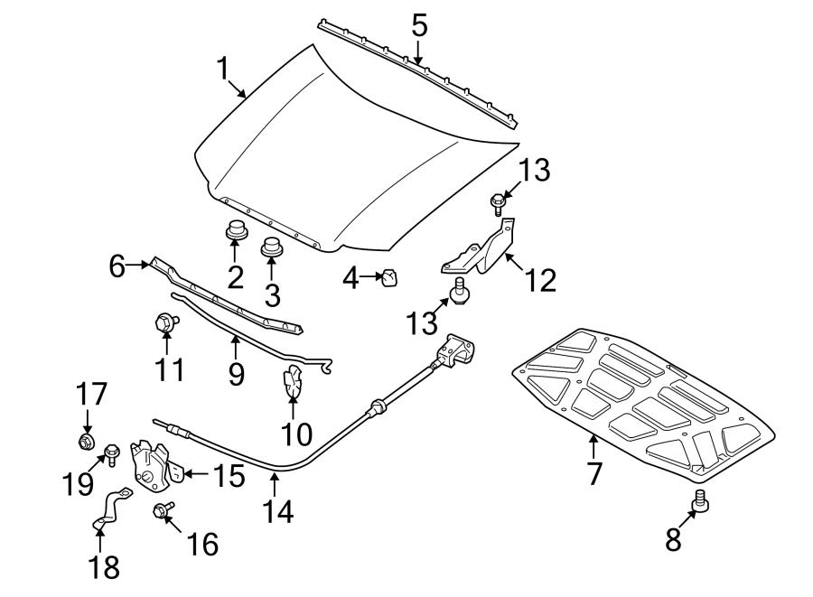 Mazda Tribute Rod  Hood  Support  Prop  Clip  Grommet  Retainer