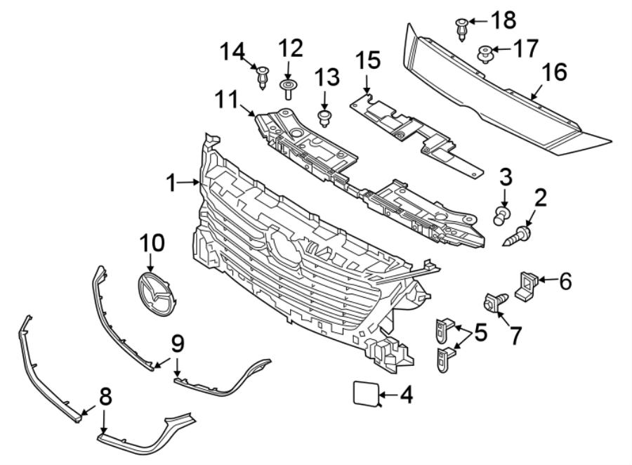 2015 mazda 3 grille parts diagram