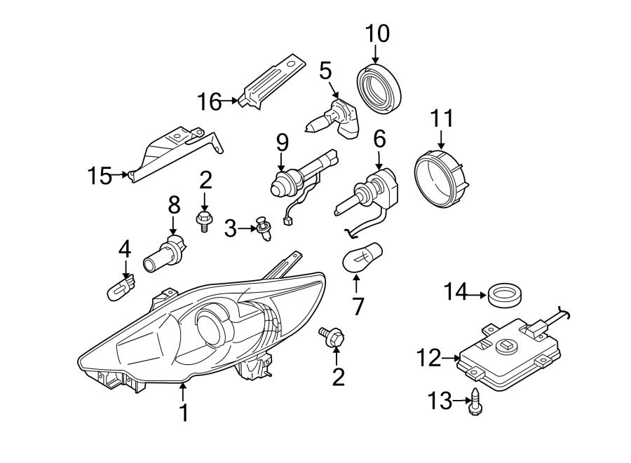 2010 Mazda 5 Headlight. Mazda5; Right; w/HID; From 6/4/09 ...